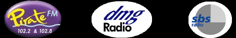 Pirate FM 102, dmg Radio and SBS logos